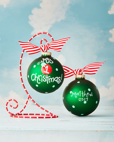 My First Christmas Personalized Ornament with Red Stand
