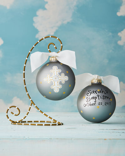 Cross Personalized Ornament with Gold Stand