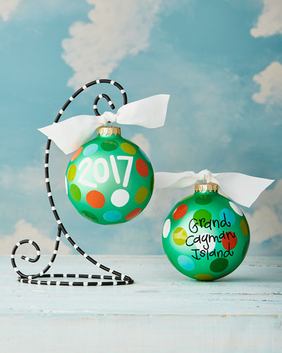 2017 Polka-Dot Personalized Ornament with Black Stand