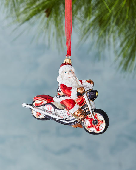 Motorcycle Santa Ornament