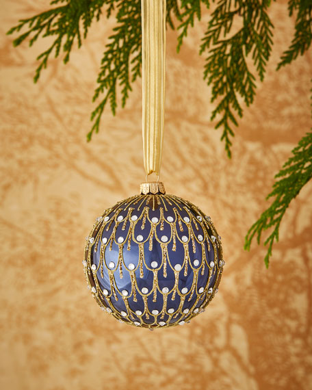 "4"" Dark Blue Ornament with Faux Gems"