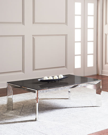 Bradshaw Polished Nickel Coffee Table, Smoke Gray/Silver