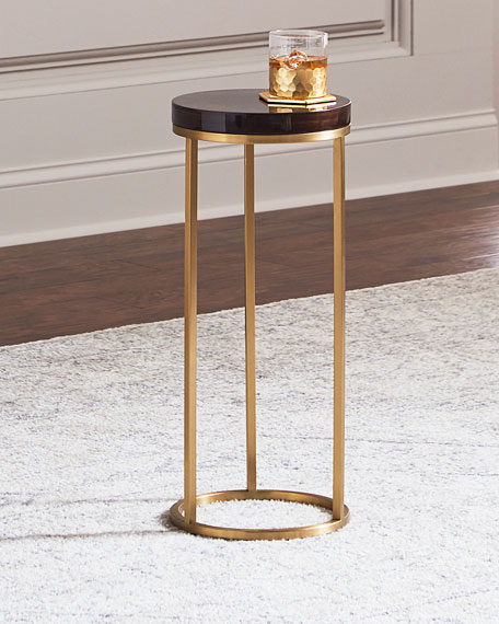Letitia Round Brass Side Table, Brown/Gold