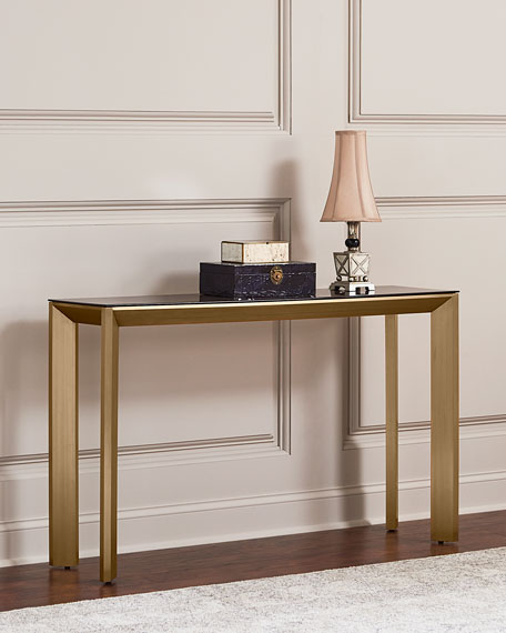 Bradshaw Brushed Brass Console Table, Brown/Gold