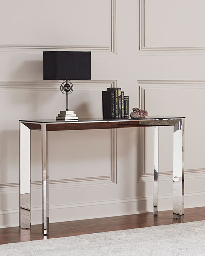 Bradshaw Polished Nickel Console Table  Smoke Gray/Silver