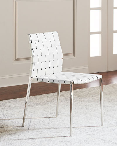 Kennedy Woven Leather Dining Chair  White