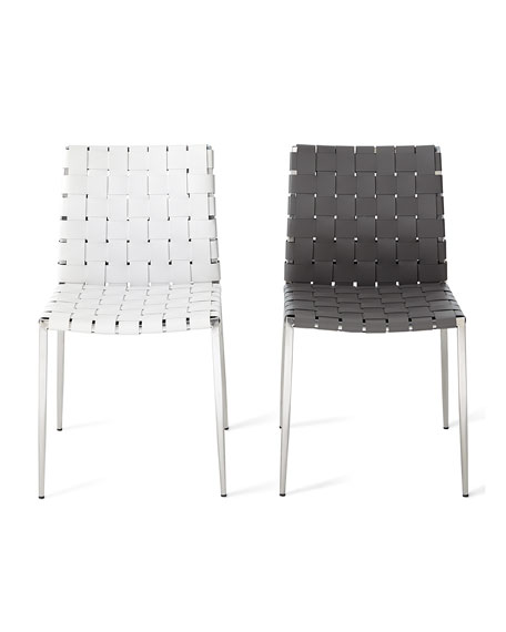 Kennedy Woven Stainless Leather Dining Chair, Gray