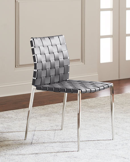 Interlude Home Kennedy Woven Stainless Leather Dining Chair,