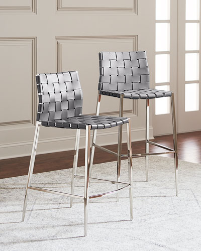 Kennedy Stainless Woven Leather Bar Stool, Gray