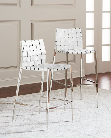 & Interlude Home Kennedy Woven Leather Counter Stool White islam-shia.org