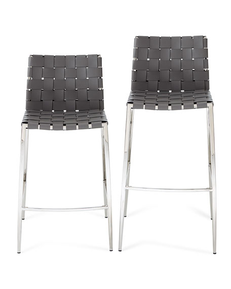 Kennedy Woven Leather Counter Stool, Gray