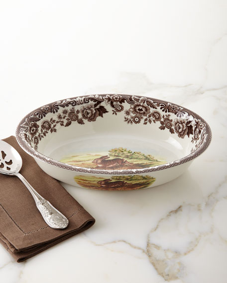 Woodland Rimmed Serving Dish with Rabbit/Pheasant