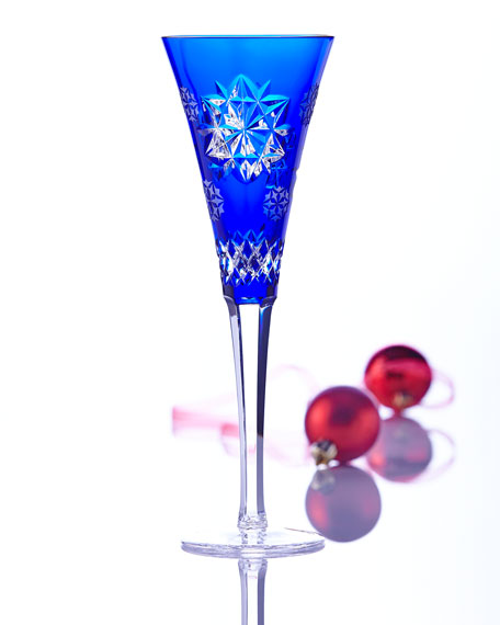 Snowflake Wishes Friendship Champagne Flute, Cobalt