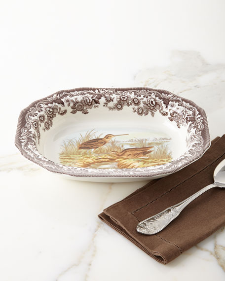 Woodland Open Vegetable Serving Dish with Snipe Birds