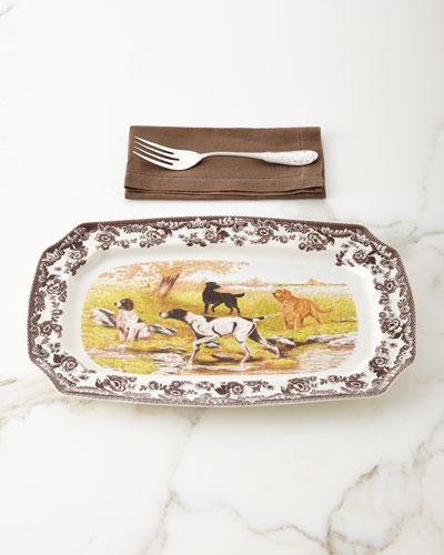 Rectangular Hunting Dogs Platter