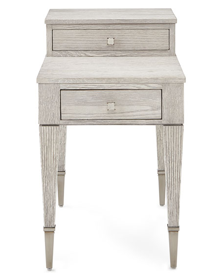 Damonica White Oak Two-Drawer Side Table