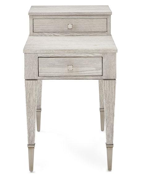 Oak Side Table: Bernhardt Damonica White Oak Two-Drawer Side Table