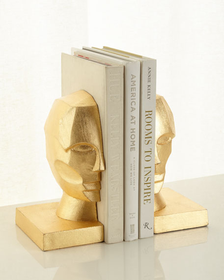 Pair of Profile Bookends in Golden Leaf