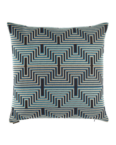 "Beckham Blue Pillow, 24""Sq."