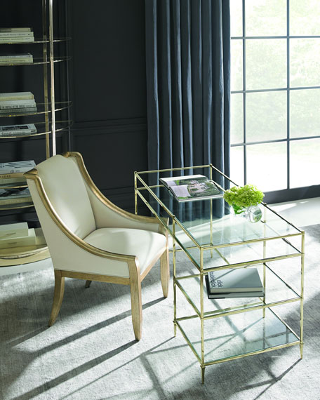 Whisper of Gold Glass Writing Desk