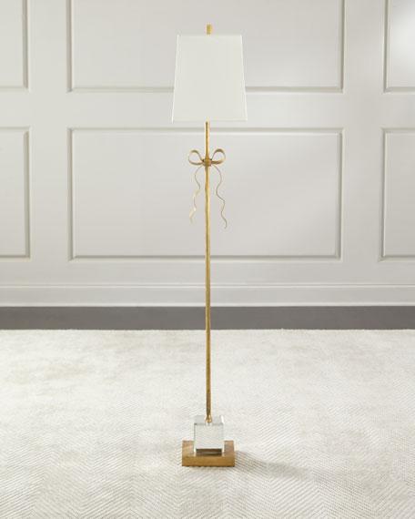 Ellery Cream Grosgrain Bow Floor Lamp