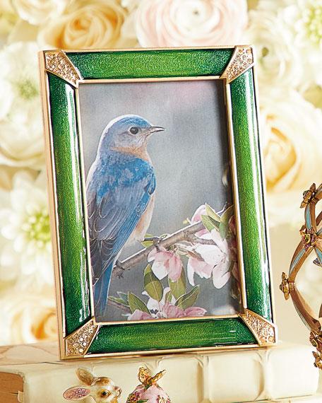 "Leland Pave Corner Picture Frame, Emerald, 4"" x 6"""