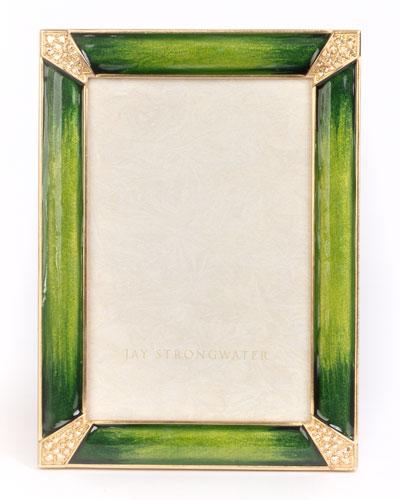Leland Pave Corner Frame, Emerald, 4