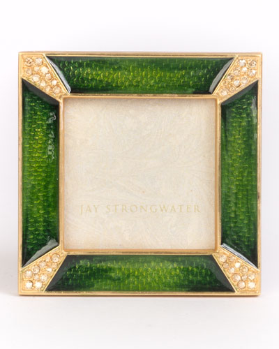 Leland Pave Corner Square Picture Frame  Emerald