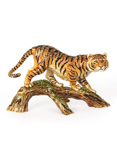 Tiger on Branch Figurine