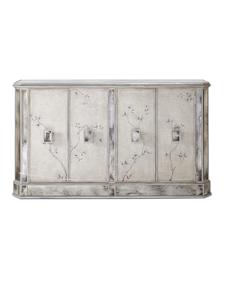 Silver Vines Antiqued Mirrored Console