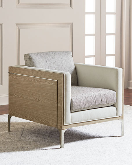 Bernhardt Mead Stainless Steel Trim Accent Chair