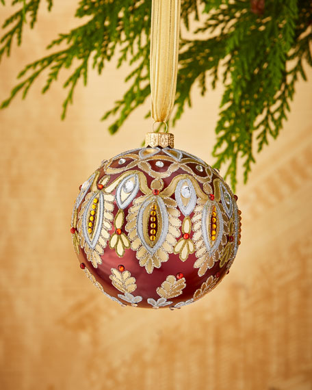 Burgundy Glittered Ornament with Beaded Detail, 4""