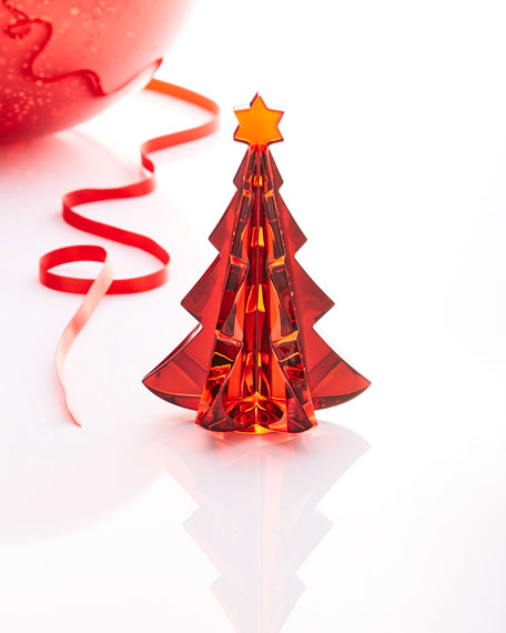Noel Meribel Crystal Fir Tree Collectible, Red