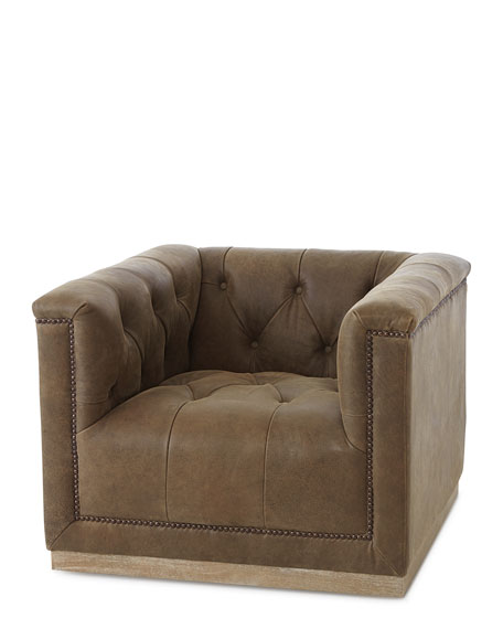 Jardene Tufted Leather Swivel Accent Chair