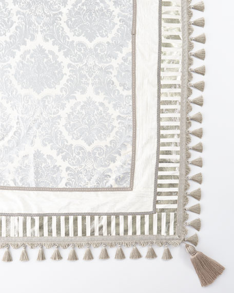 Ivory & Silver Square Table Topper