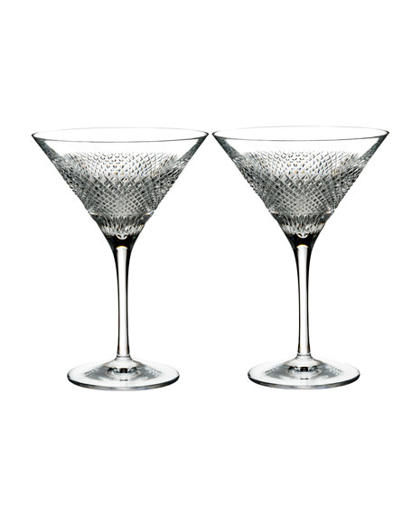 Diamond Line Martini Glasses, Set of Two