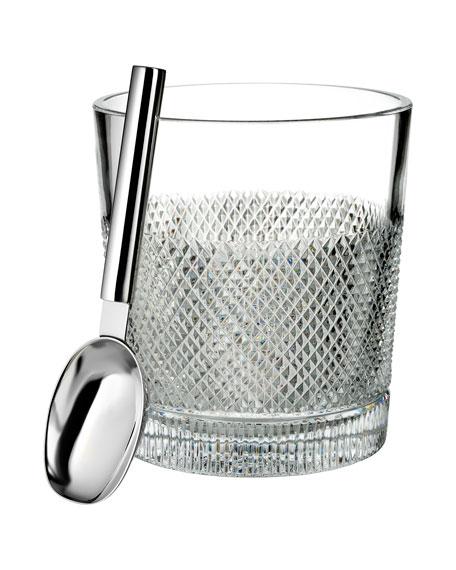 Waterford Crystal Diamond Line Ice Bucket w/ Scoop