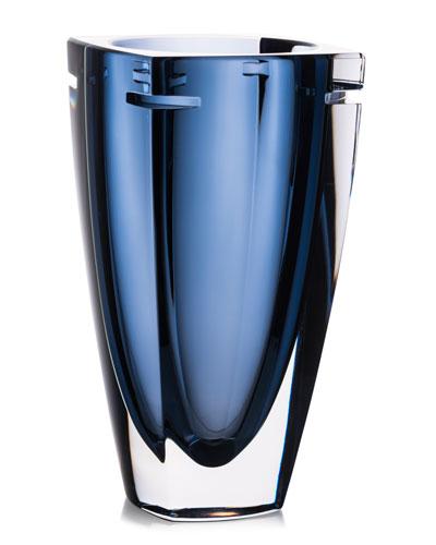 W Crystal Vase, Blue, 10