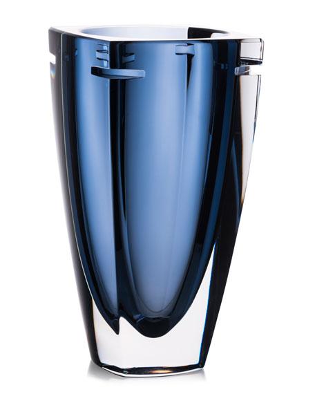 "W Crystal Vase, Blue, 10"""