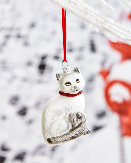 White Cat with Red Collar Christmas Ornament