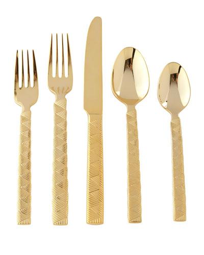 5-Piece Cairo Flatware Place Setting, Golden