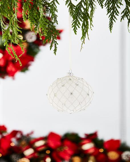 """Glitzy White Crisscross/Rhinestone Ornament, 4"""""""