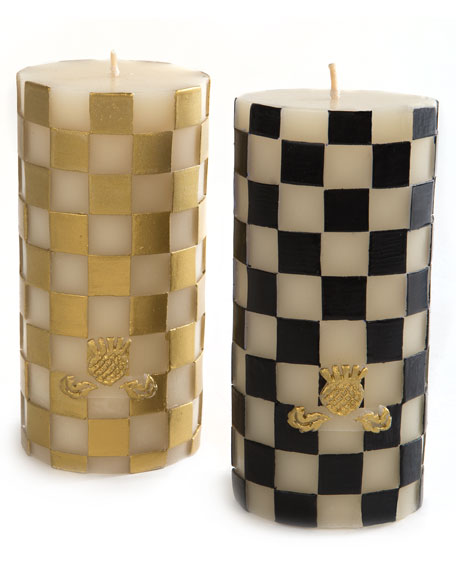 Check Pillar Candle, Gold/White