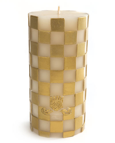 Check Pillar Candle  Gold/White