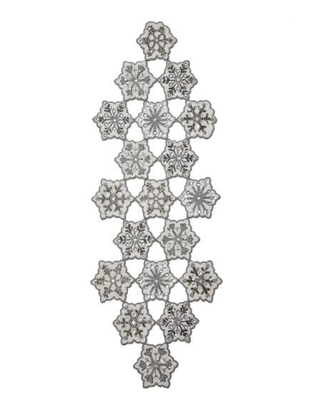 "Beaded Snowflake Table Runner, 16"" x 46"""