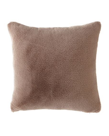 Dier Square Faux-Fur Pillow, Brown