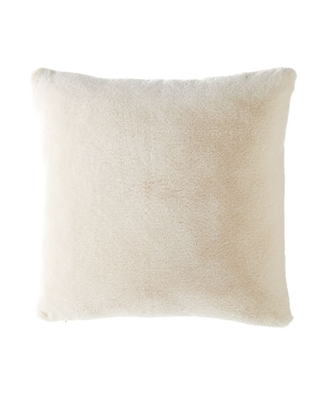 Dier Square Faux-Fur Pillow, Ivory