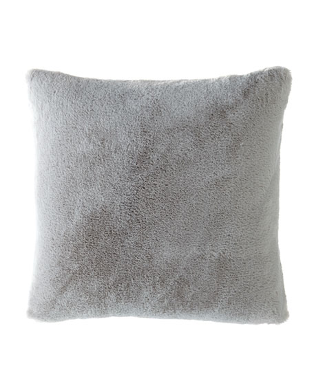 Dier Faux-Fur Square Pillow, Spa Gray