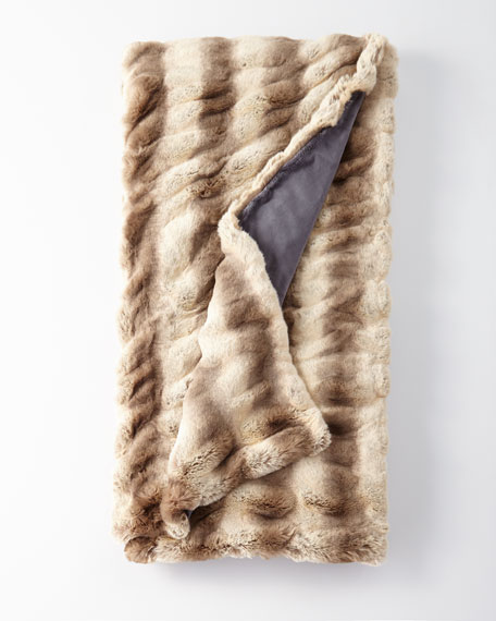 Faux-Fur Throw Blanket in Truffle Chinchilla