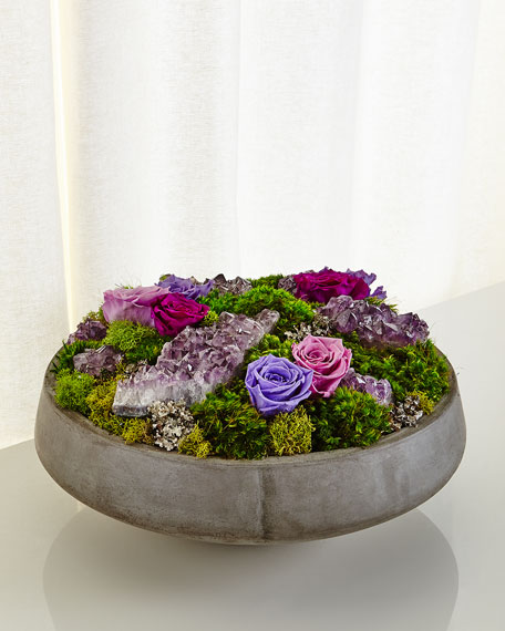 Concrete Bowl Preserved Rose